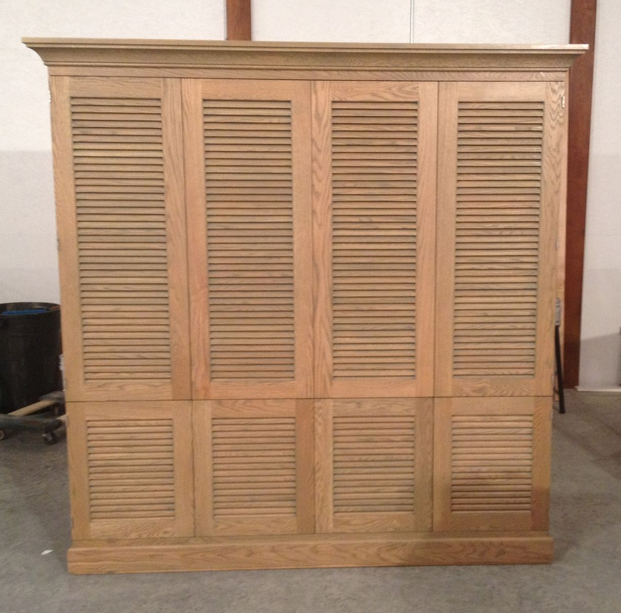 Hand made entertaiment cabinet with louvered doors by j s woodworking - Custom made cabinet ...