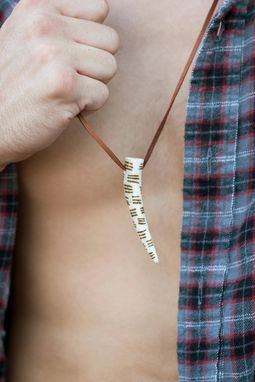 Custom Made Antler Necklace With Three Row Pattern Markings On Leather Cord
