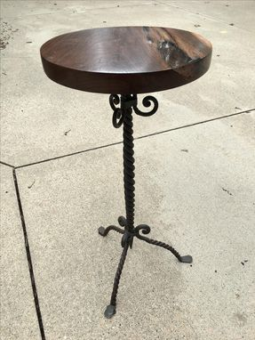 Custom Made Sold...  Walnut And Wrought Iron Side Table With Acrylic Casting