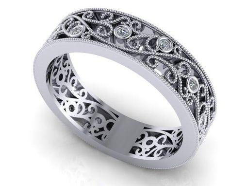 Art Nouveau Diamond Wedding Band Eternity Fl Filigree 14k White Gold