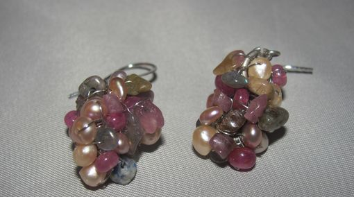 Custom Made Wire Wrapped Ruby, Freshwater Pearl, Tourmaline Earrings