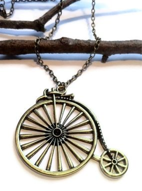 Custom Made Bronze Bicycle Necklace