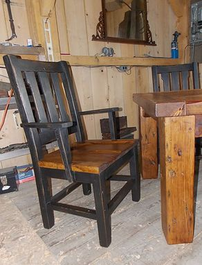 Custom Made Heavy Barn Wood Dining Table And 6 Chairs
