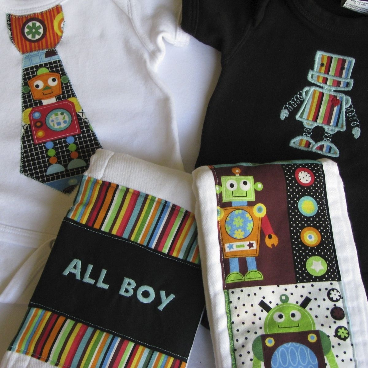 b2e49bee69cd Custom Made Personalized Baby Boy Gift Set Style 1. Hand Made Personalized  Baby Boy Gift Set Style 1 By More Than Sew