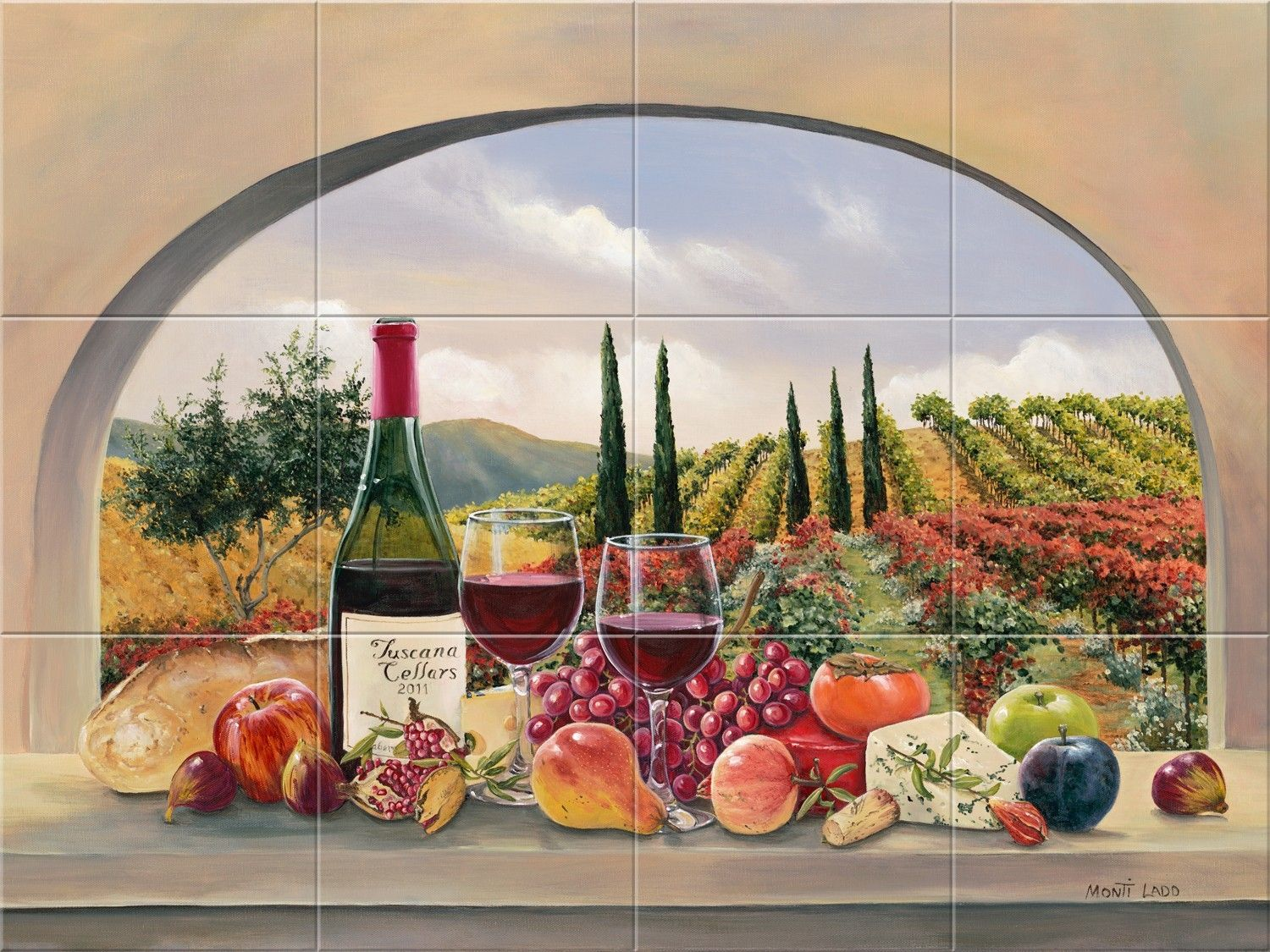 Hand Made Late Harvest Tile Mural By Murals By Monti