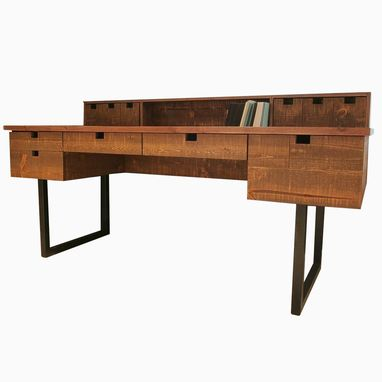 Custom Made Contemporary Walnut And Distressed Pine Desk