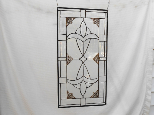 Custom Made Traditional Beveled Stained Glass Transom Panel, Original Handmade Home Decor