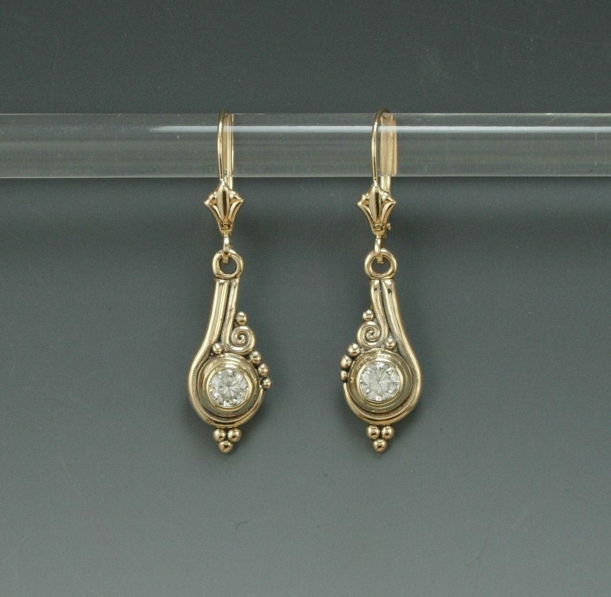 Custom Made 14k Yellow Gold Moissanite Earrings