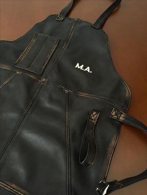 Custom Made Premium Bbq Baristas Leather Apron Grilling Distressed Black - Personalized Embroidery - Custom-Made