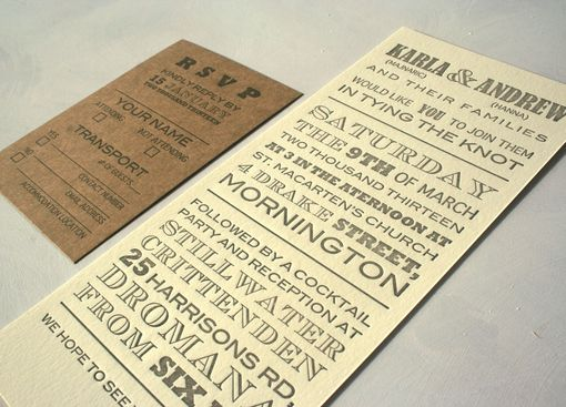 Custom Made Vintage Fonts Long Letterpress Wedding Invitation With Rustic Cork Tag