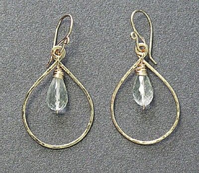 Custom Made Green Amethyst Drop Hoops