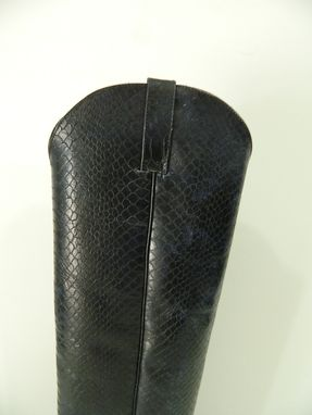Custom Made Black Distressed Python Leather Cowboy Boots 22 Inch Tall 4.5¨ Heels Men Sizes