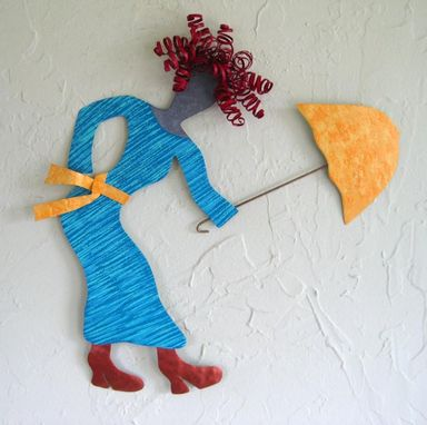 Custom Made Handmade Upcycled Metal Girl With Umbrella Wall Art Sculpture