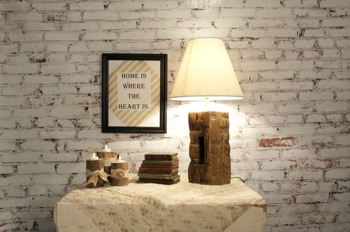 Custom Made Barn Beam Lamp Pair , Rustic Country Accent Hand Hewn Handmade Wood Americana Salvage