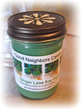 Custom Made Soy Candle, Ginger Lime, 8 Ounce, Daisy Cut Bronze Lid, Green, Citrus