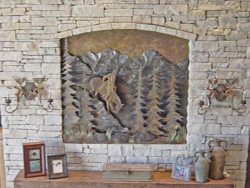 Custom Made Mountain Scene Relief, Fabricated Metal Sculptures