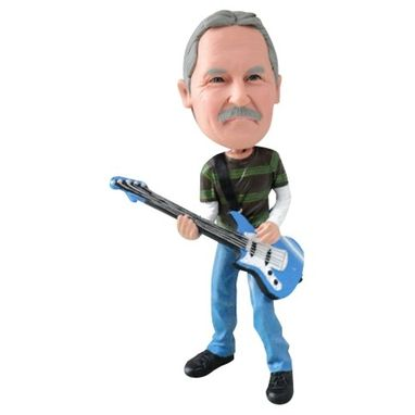 Custom Made Personalized Guitar Player Bobblehead - Great Guitar Gift Or Cake Topper