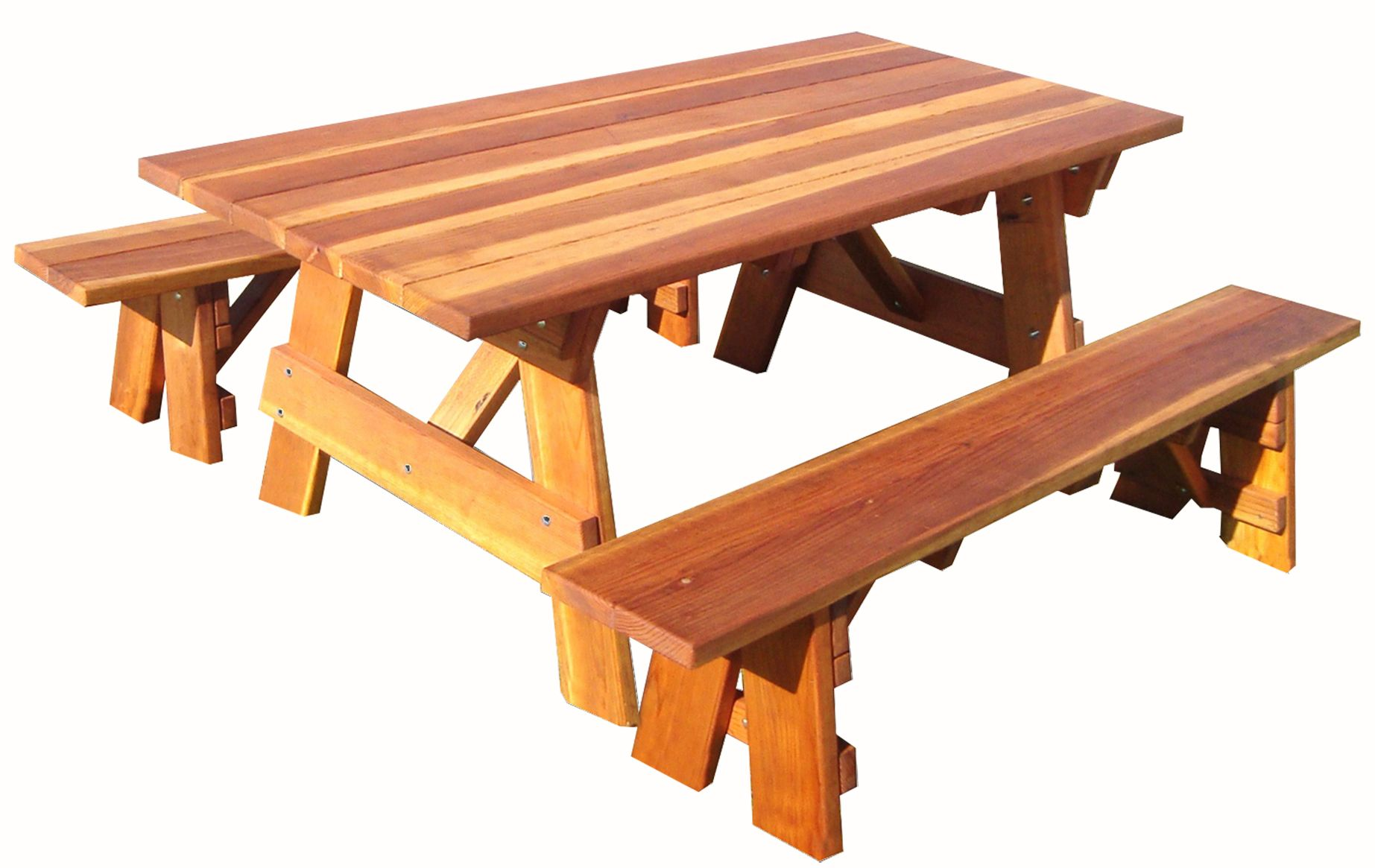 Custom Made 5ft Redwood Picnic Table Separate Benches