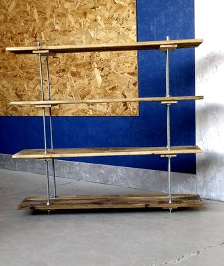 Custom Made Vintage Pallet 4 Shelf Unit Industrial Style With Adjustable Legs