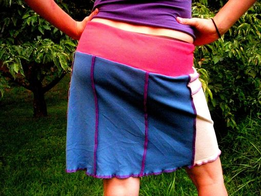 Custom Made Eco/Upcycled Cotton Cirque Yoga Mini Skirt - Bright Multi Patchwork Size Medium
