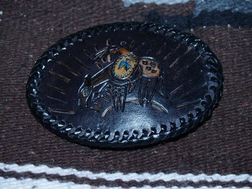 Custom Made Indigenous Petroglyph Buckle Indian Warrior On Horse With Tomahawk
