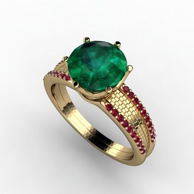 Custom Made Gold Bricked Ring To The Emerald Setting