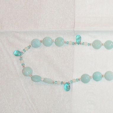 Custom Made Amazonite, Blue Apatite, And Moonstone Necklace In Sterling Silver