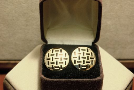 Custom Made Yellow Gold Saw Pierced 'Man-Hole Cover' Cufflinks