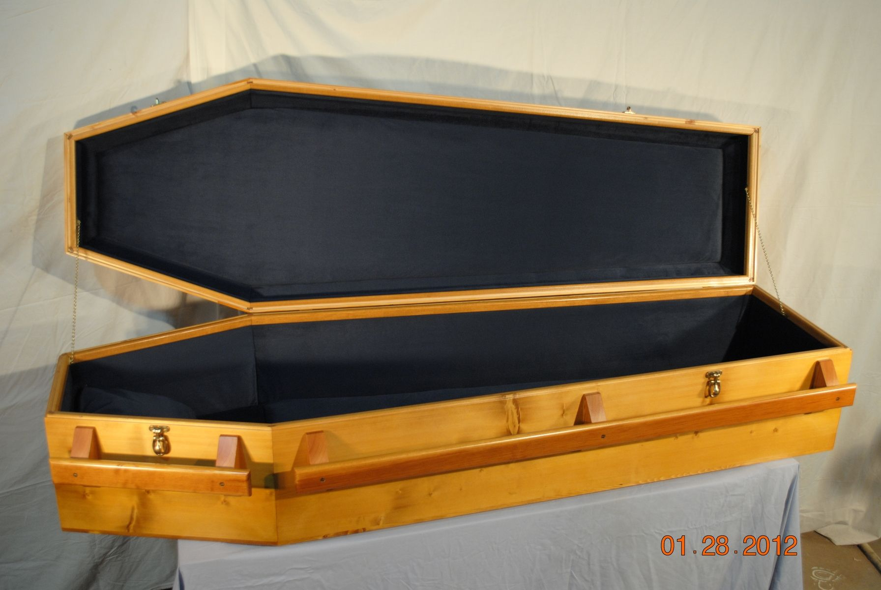 Custom Made Casket Old Style Pine Coffin by Gene Lyman