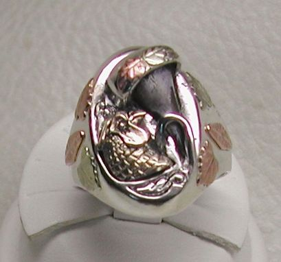 "Custom Made Pheasant Spur & Bust & Black Hills Gold ""Trophy"" Ring"