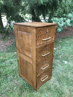 Custom Made Four-Drawer File Cabinet In Quartersawn White Oak