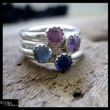 Custom Made Hand Made Birthstone Sterling Stacking Ring Set Of Four