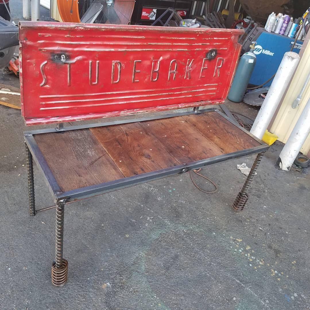 Outstanding Hand Crafted Studebaker Truck Garden Bench By Metal Art At Machost Co Dining Chair Design Ideas Machostcouk