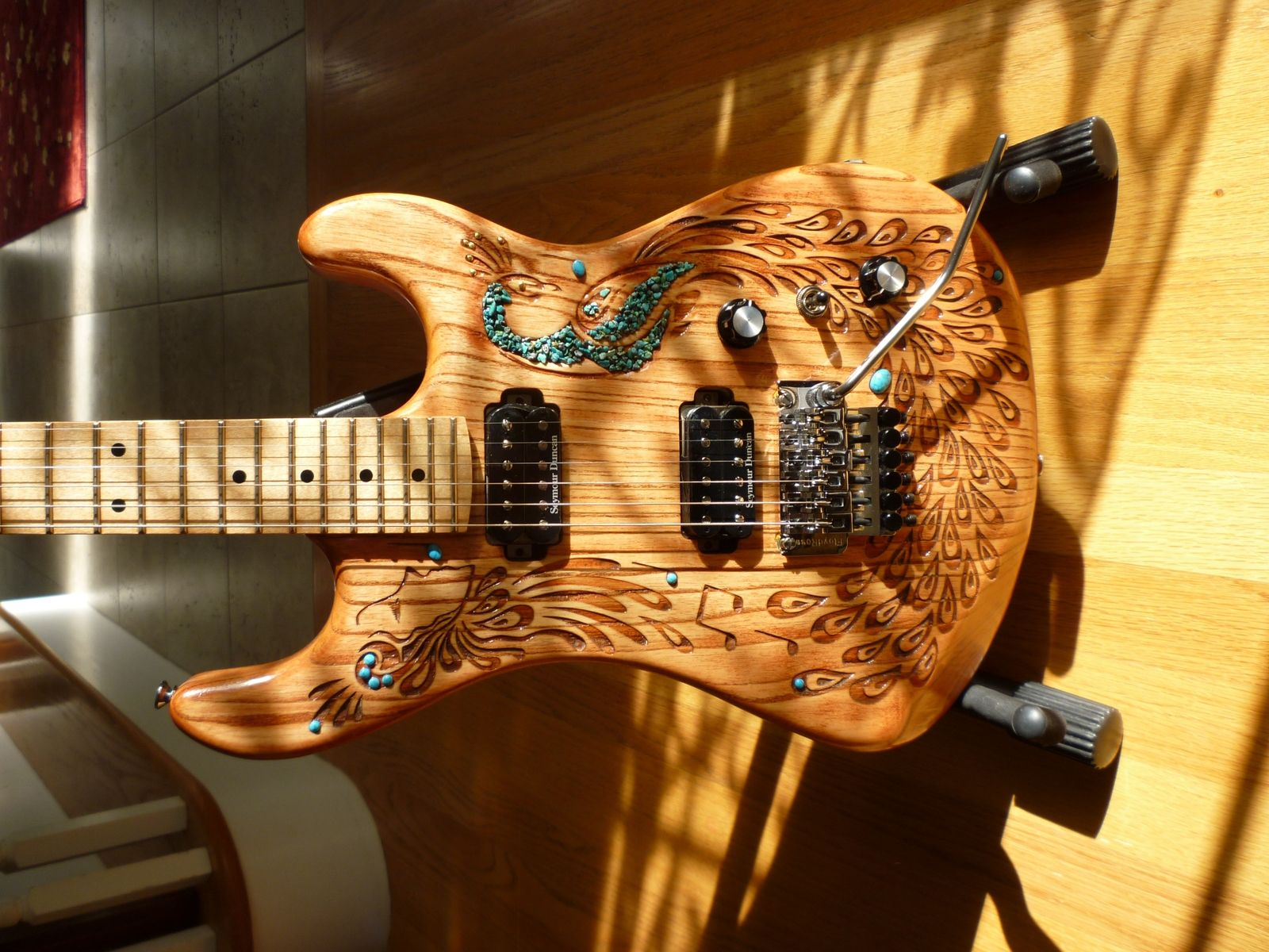 hand crafted hand carved peacock electric guitar with turquoise accents by ahnwu. Black Bedroom Furniture Sets. Home Design Ideas