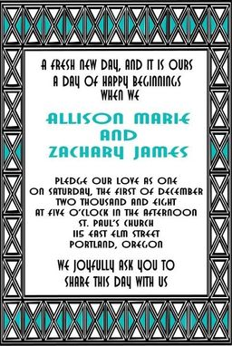 Custom Made Art Deco Style Custom Design Wedding Invitation Set