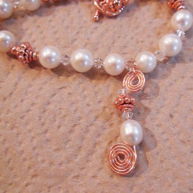 Custom Made White Pearl And Swarovski Clear Crystal Necklace With Wirework Spiral Drop In Copper