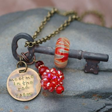 Custom Made Key Necklace, Steampunk Jewelry, Boro Lampwork Glass Beaded Pendant, Red - Meet Me In The Red Room