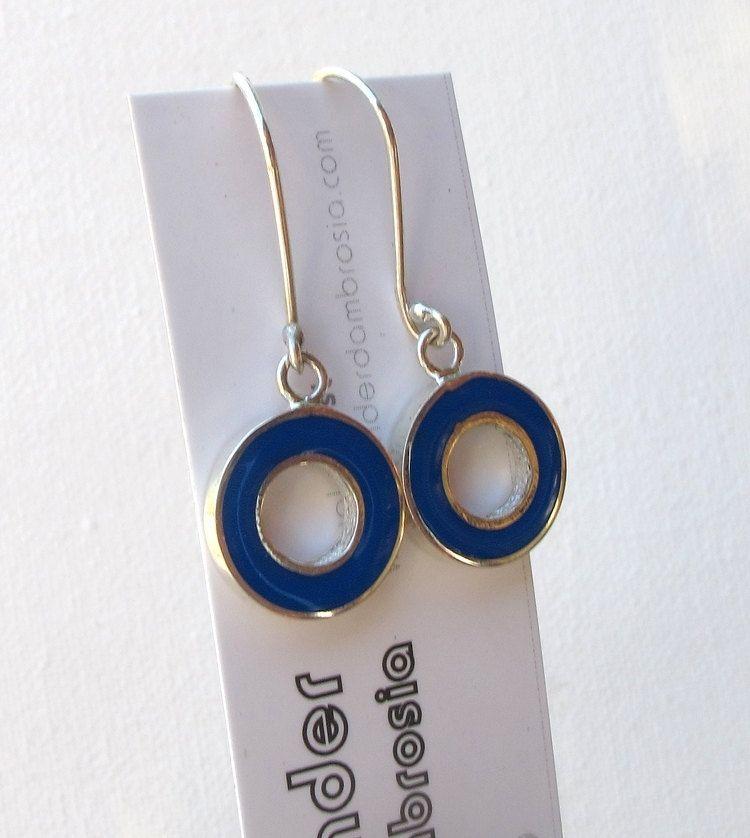 Custom Made Blue Drop Earrings Round Cobalt Dangle Retro