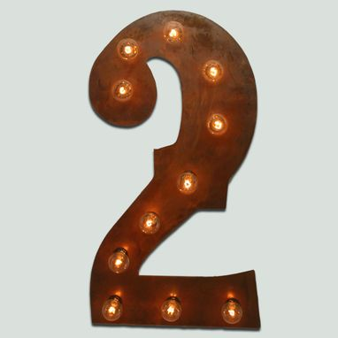 Custom Made Aged Copper Letter Number Marquee Light Flat