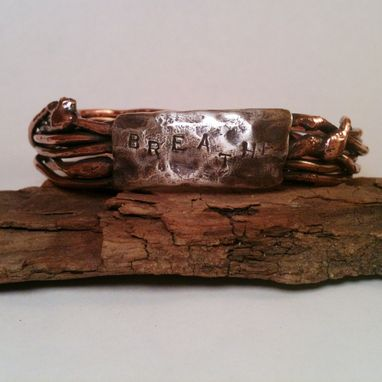 "Custom Made Copper Wire With Silver Plate Bangle ""Breathe''"
