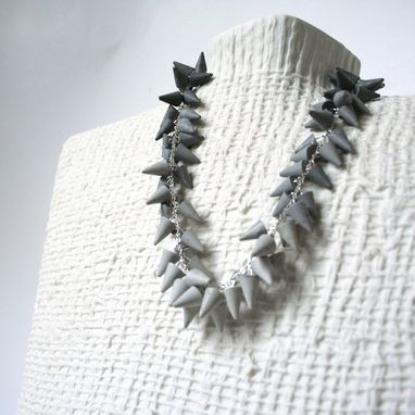 Custom Made Concrete Gray Ombre Fringe Necklace