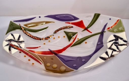 Custom Made Abstract Art Fused Glass Platter