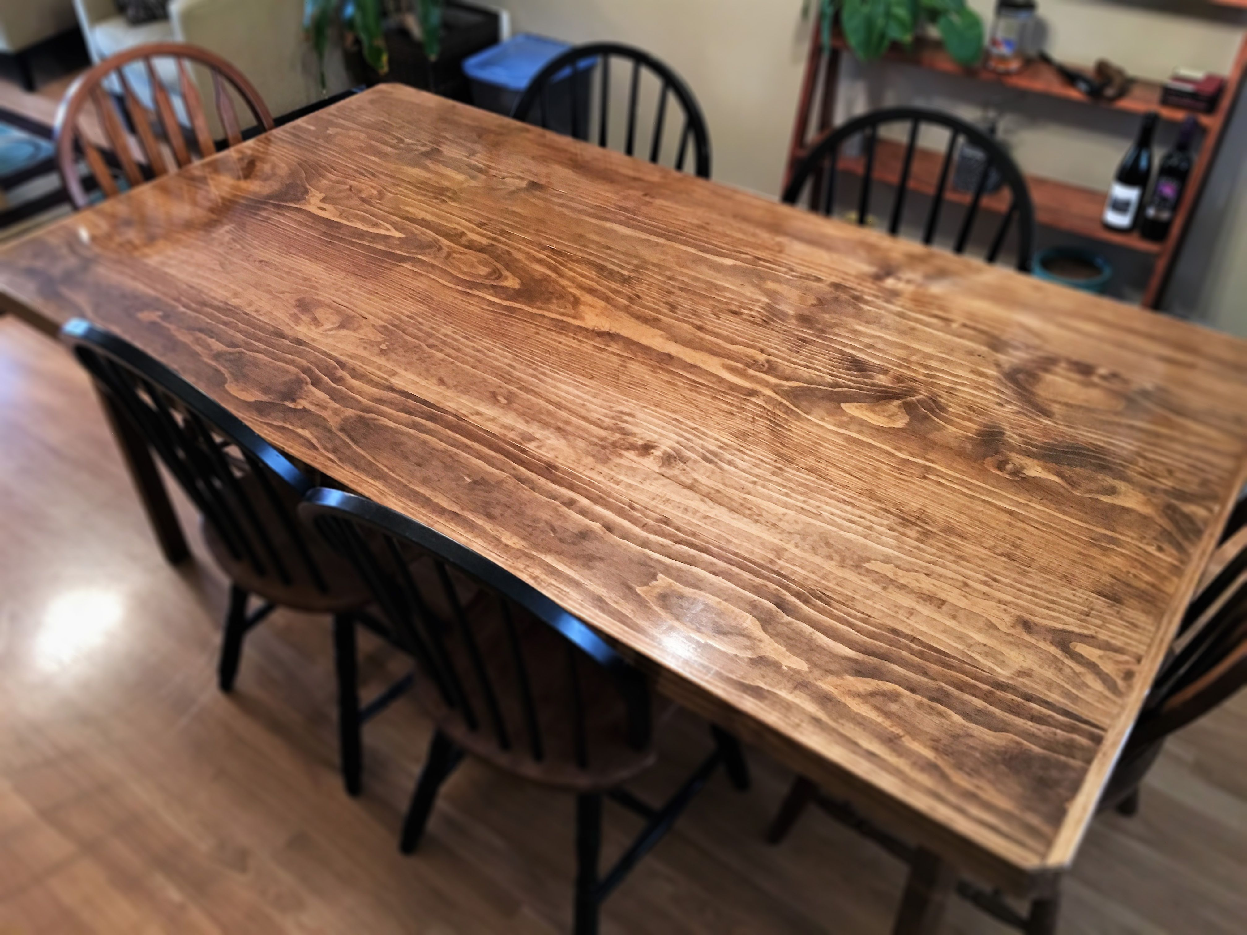 Custom Made Saginaw Flat Sawn Pine Dining Table 4 Leg Base