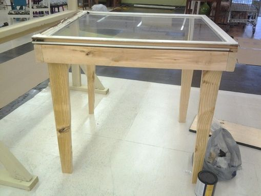 Custom Made Solid Window Pane Shadow Box Table That Lifts Up