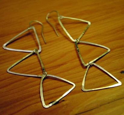 Custom Made Silver Falling Triangles Earrings