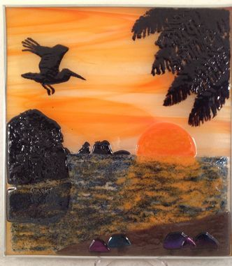 Custom Made Sunset At The Beach Landscape Sun Catcher