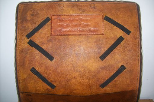 Custom Made Custom Leather Mason Apron Case Showing Interior And Presentation Page