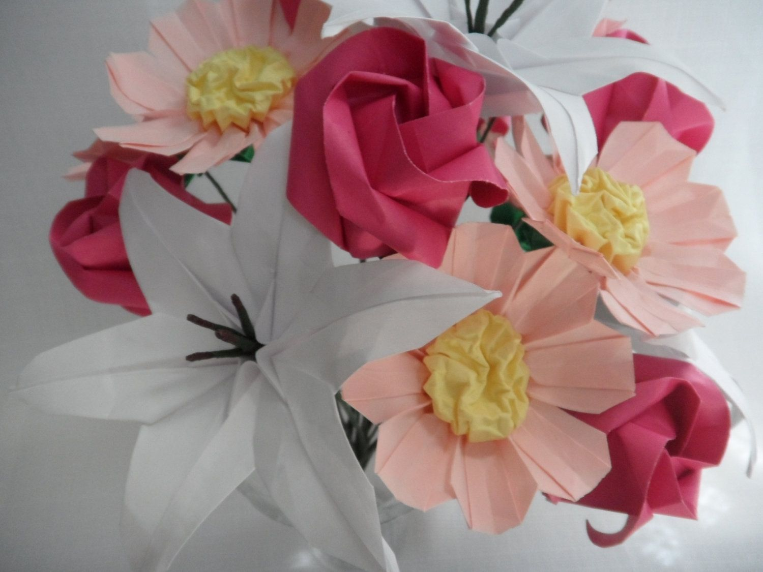 Custom Origami Paper Flower Bouquet Sweetheart Lilies Roses