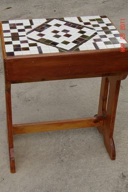 Custom Made Multi Leveled Mosaic End Table With White Tiles And Green & Burgandy Glass