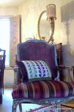 Custom Made Hand Painted And Upholstered Carved Berger Chairs